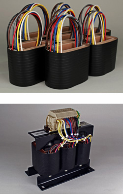 Composite image of Osborne's handcrafted coils and a three phase transformer. High Performance Transformers.
