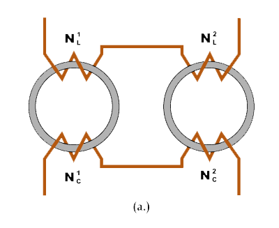 Illustration of dual ring core saturable reactor element.