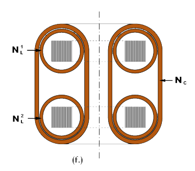 Illustration of dual ring core saturable reactor element with common control winding.
